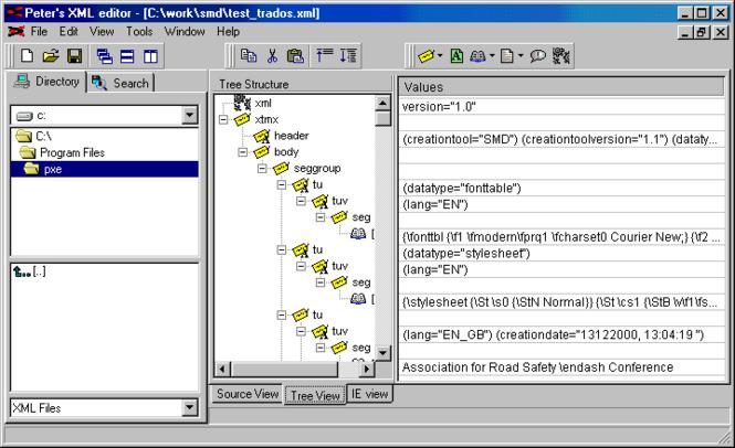 Peter's XML editor Screenshot