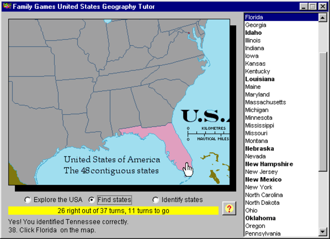 United States Geography Tutor Screenshot