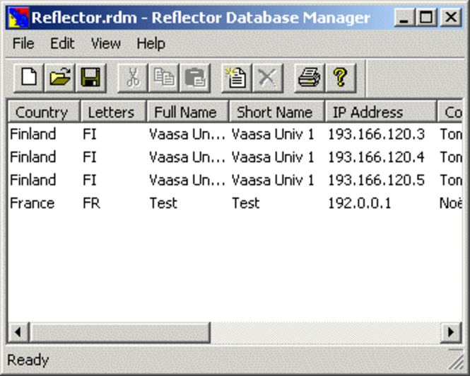 Reflector Database Manager Screenshot
