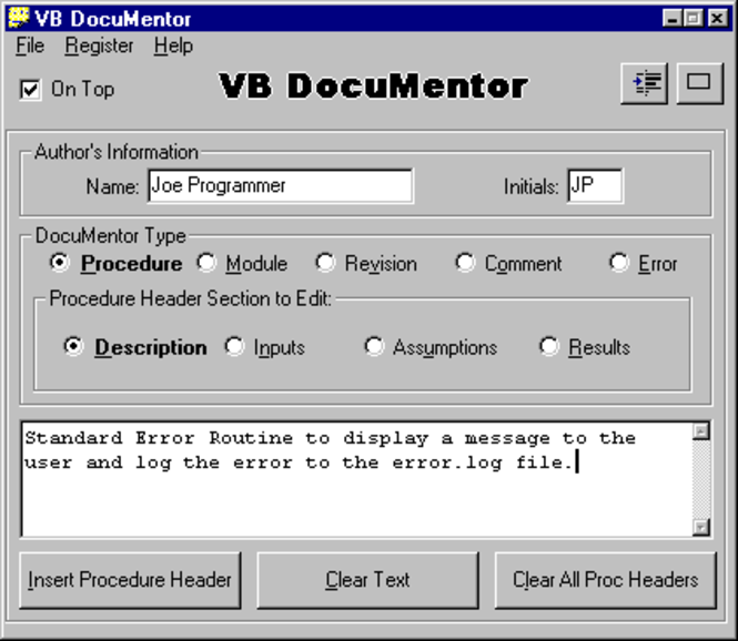 VB DocuMentor Screenshot