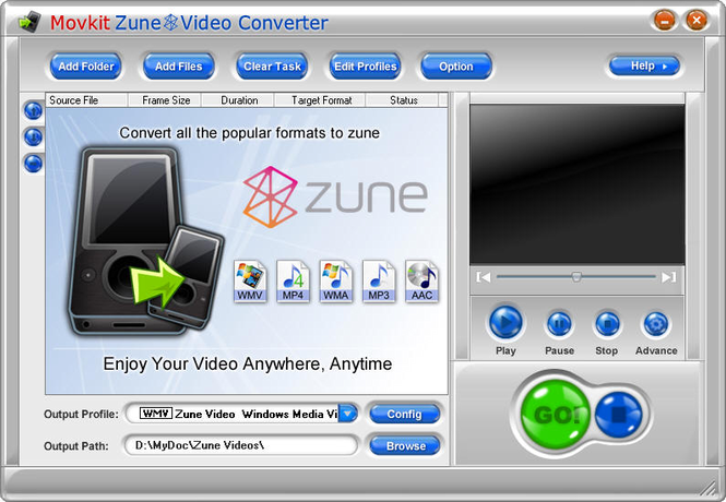 Movkit Zune Video Converter Screenshot