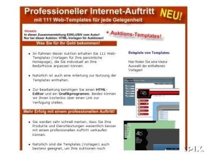 111 Vorlagen (Frontpage) für die eigene Homepage! Screenshot