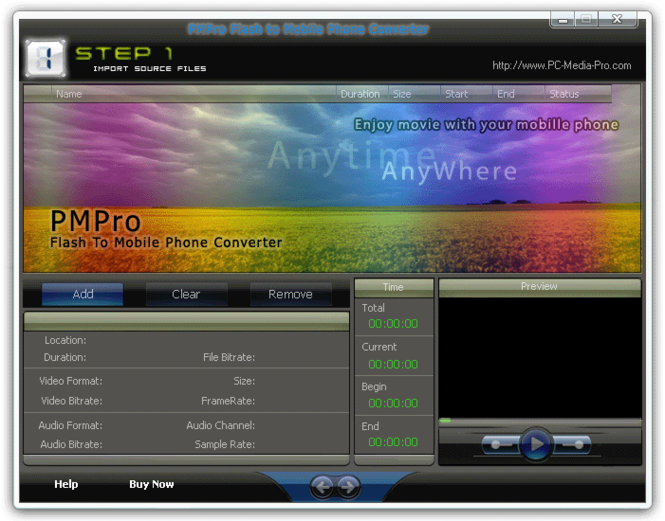 PMPro Flash to Mobile Phone Converter Screenshot 1