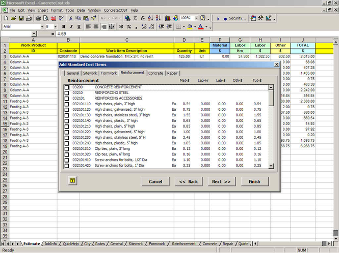 ConcreteCost Estimator for Excel Screenshot 1
