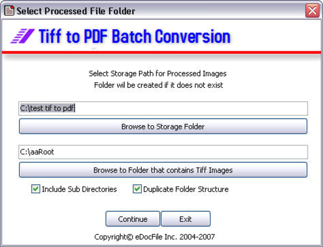 Tiff to PDF Screenshot