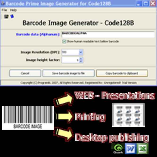 Code128 barcode prime image generator Screenshot
