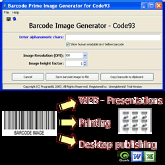 Code93 barcode prime image generator Screenshot