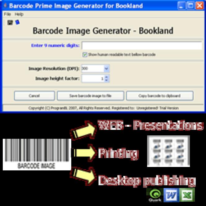 Bookland barcode prime image generator Screenshot