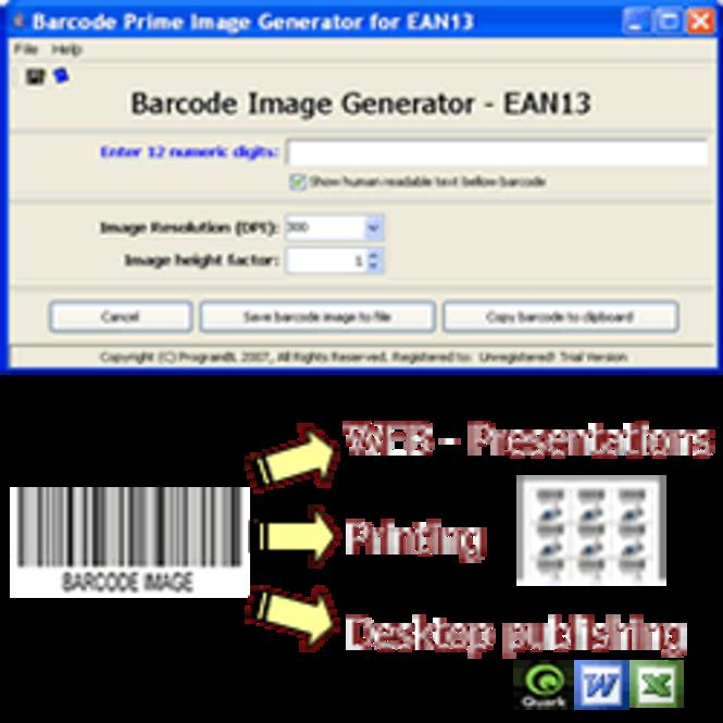 EAN13 barcode prime image generator Screenshot