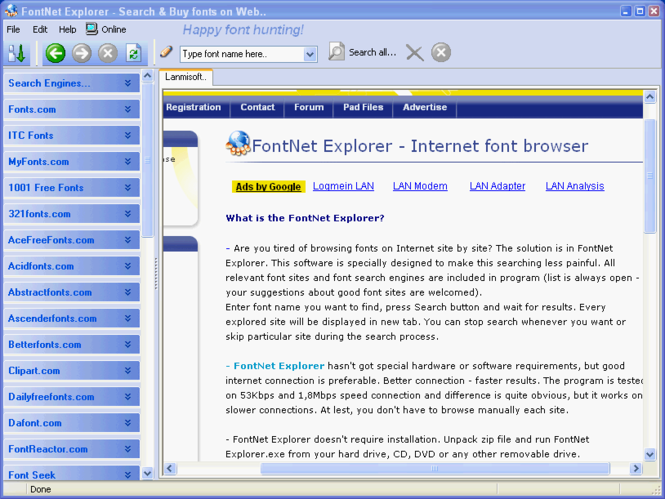FontNet Explorer Screenshot 1
