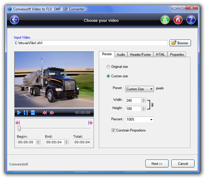 ConvexSoft Video to FLV SWF GIF Convert Screenshot