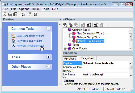 Coalesys PanelBar for ASP.NET Screenshot