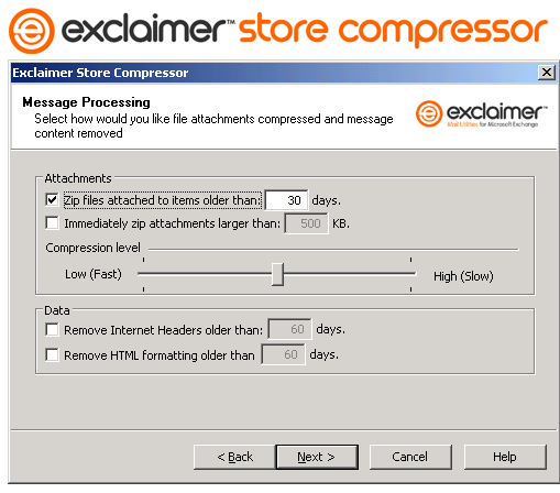 Exclaimer Store Compressor Screenshot