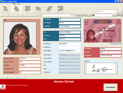 Lobby Track Employee Attendance Software Screenshot