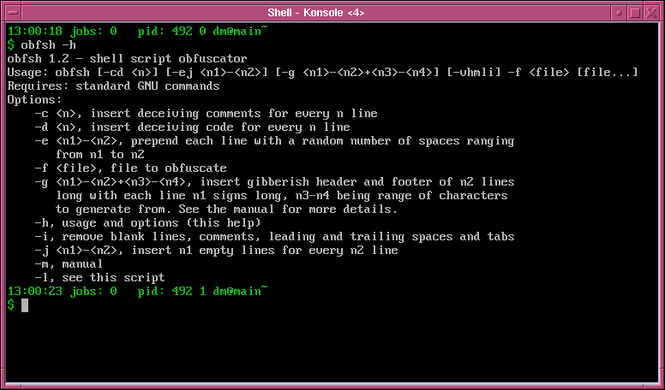 Shell script obfuscator Screenshot 1