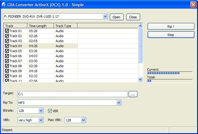 Audio CD ActiveX (OCX) Screenshot