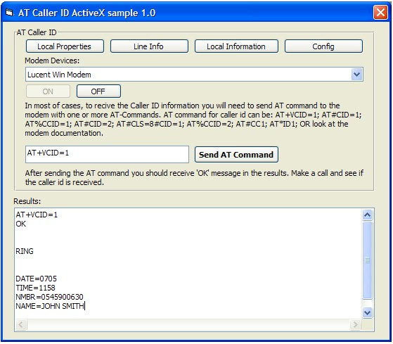 AT Caller ID ActiveX (OCX) Screenshot