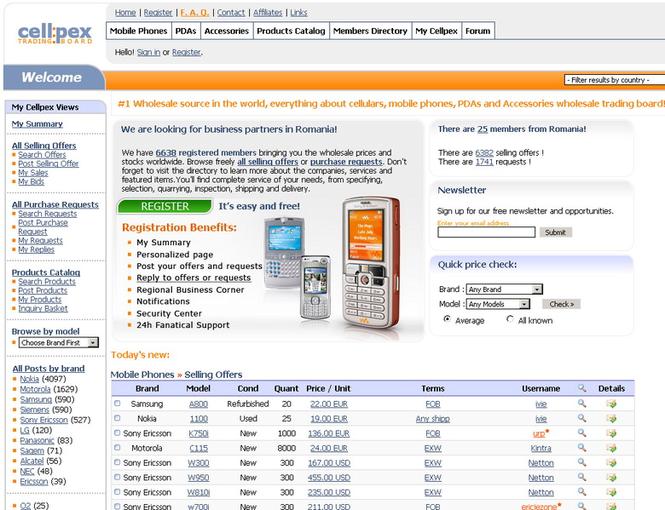 Cellpex.com, Monthly Paid Membership Screenshot 1