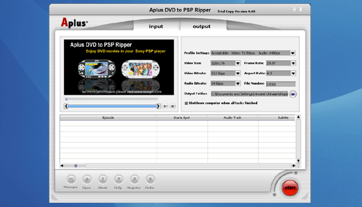 Aplus DVD to PSP Ripper Screenshot 1