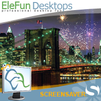 Fireworks on Brooklyn Bridge- Animated Screensaver Screenshot