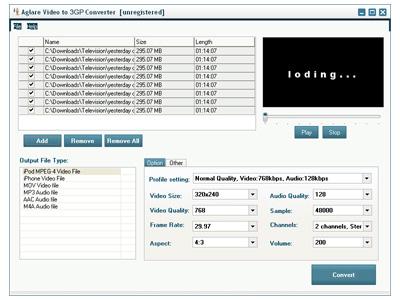 Aglare Video to 3GP Converter Screenshot