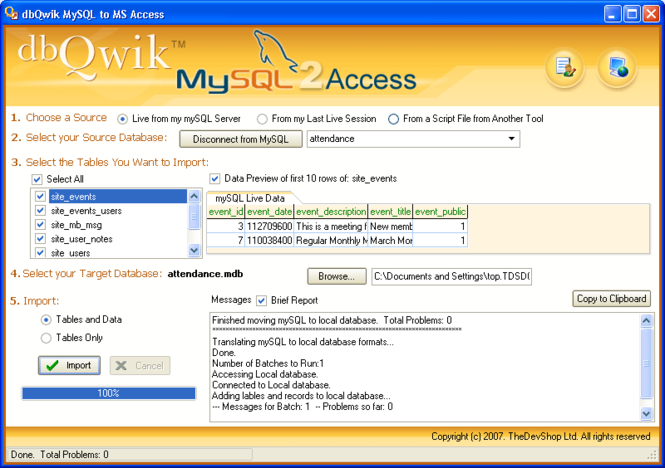 dbQwikMySQL2Access Screenshot