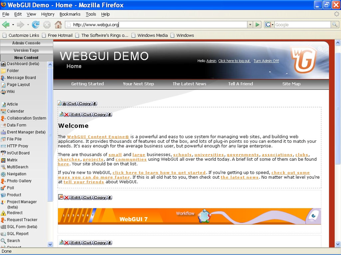 WebGUI Screenshot 1