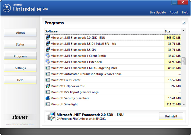 Simnet UnInstaller 2010 Screenshot