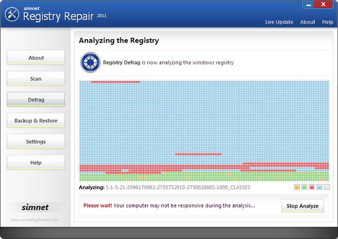 Simnet Registry Defrag 2010 Screenshot 1