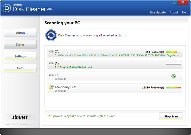 Simnet Disk Cleaner 2010 Screenshot