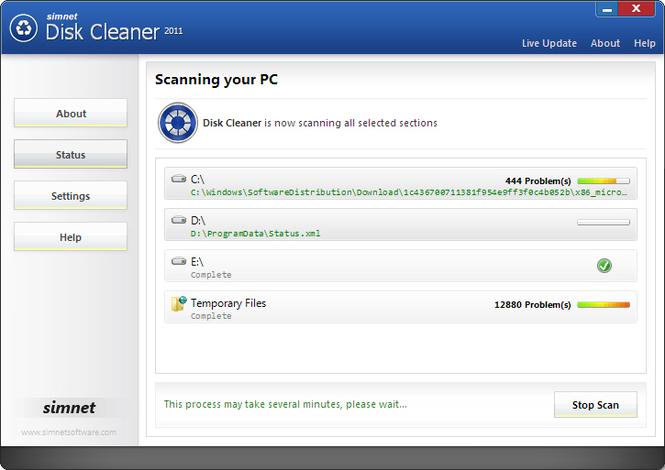 Simnet Disk Cleaner 2010 Screenshot 1