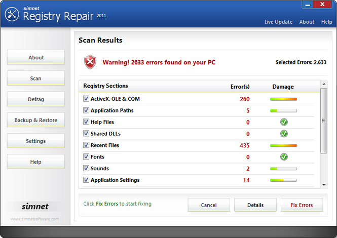Simnet Registry Repair 2010 Screenshot 1