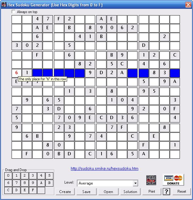 Hex Sudoku Generator Screenshot