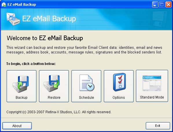 EZ eMail Backup Screenshot
