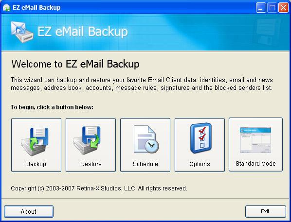 EZ eMail Backup Screenshot 1
