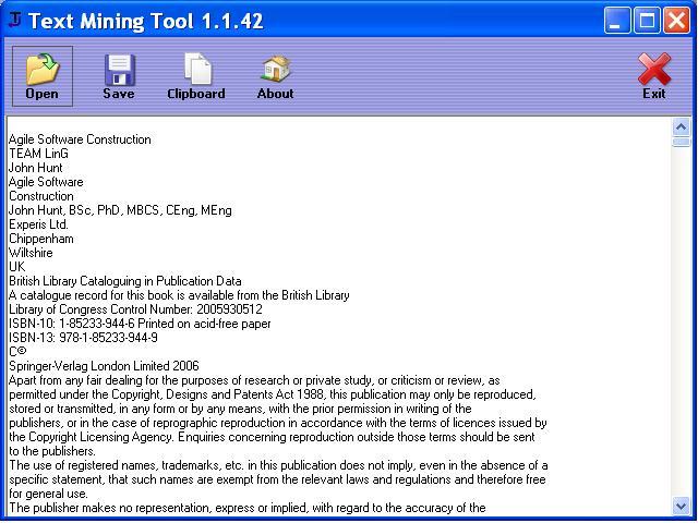 Text Mining Tool Screenshot