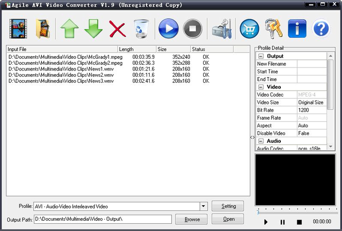 Agile AVI Video Converter Screenshot