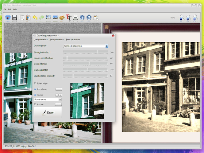 FotoSketcher Screenshot 1