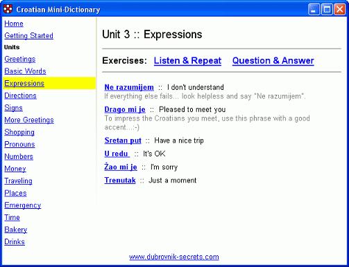 Croatian-English Mini Dictionary Screenshot