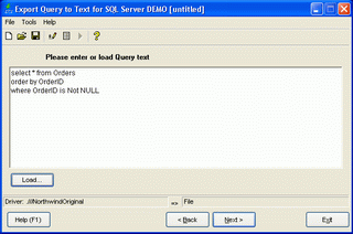 Export Query to Text for Oracle Screenshot