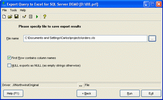 Export Query to Excel for Oracle Screenshot