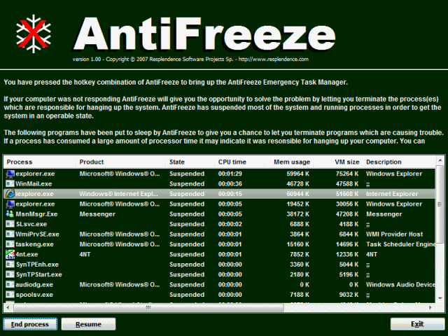AntiFreeze Screenshot