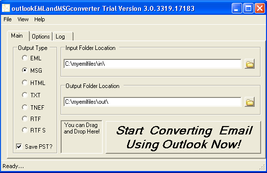 outlookEMLandMSGconverter Screenshot