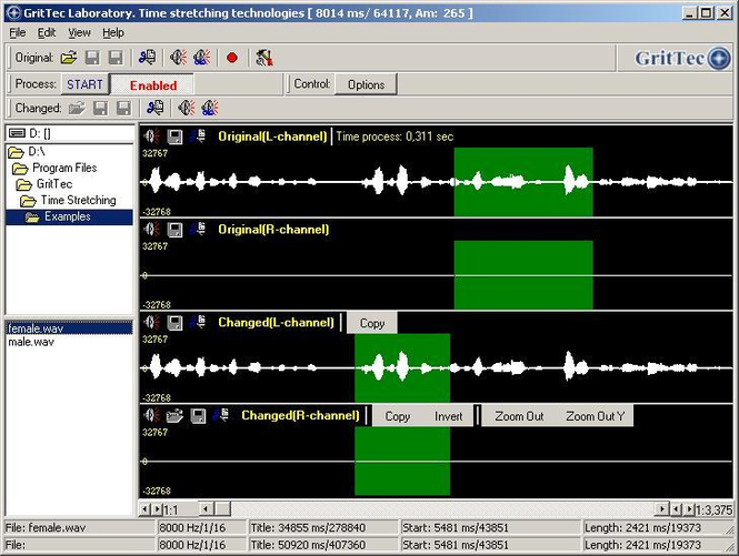 Time Stretching Speech & Audio signals Screenshot