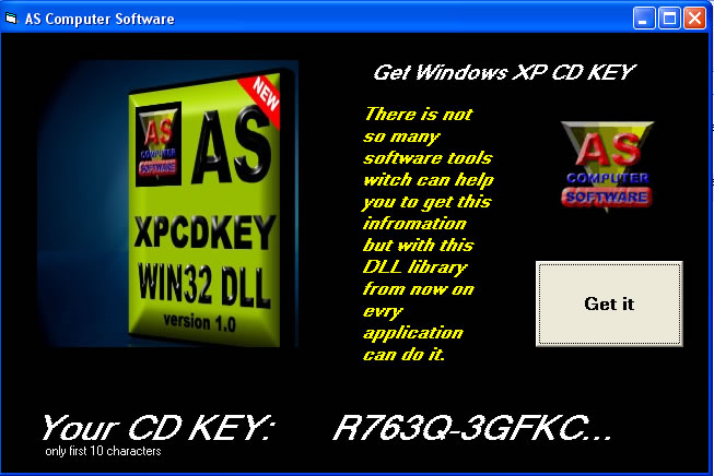 AS XPCDKEY WIN32 DLL Screenshot 1