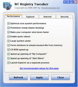 NT Registry Tweaker Screenshot
