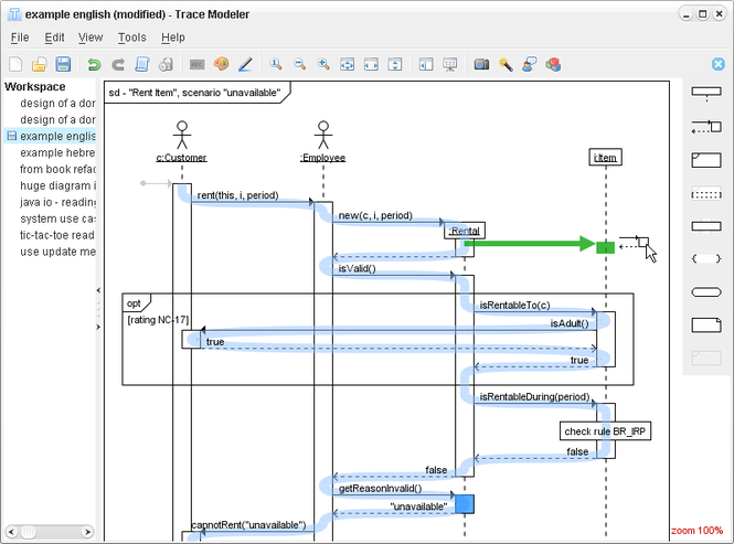 Trace Modeler for UML Sequence Diagrams Screenshot