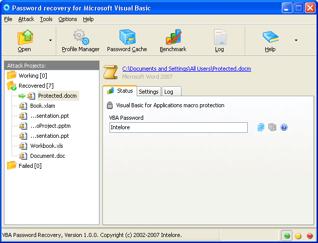VBA Password Recovery Professional Screenshot