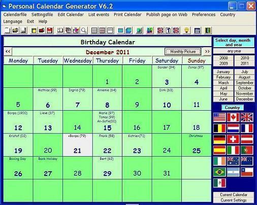 Personal Calendar Generator Screenshot