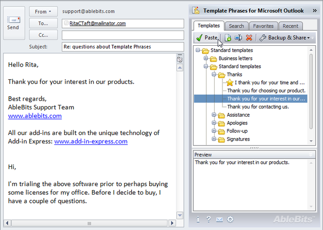 Template Phrases for Microsoft Outlook Screenshot